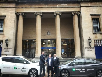 (L-R): Ben Smith, Business Development Manager at Enterprise; Will Spendlove of Gloucestershire County Council; and Kay Parbat, Strategic Transportation Consultant at Enterprise