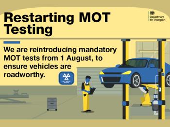 MOTs will restart from 1 August