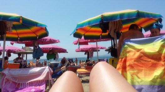 public beach crowd