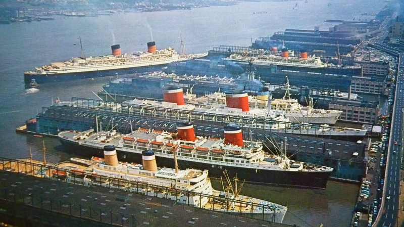 RMS Queen Elizabeth taking her spot at Pier 90 in Manhattan's Luxury Liner Row.