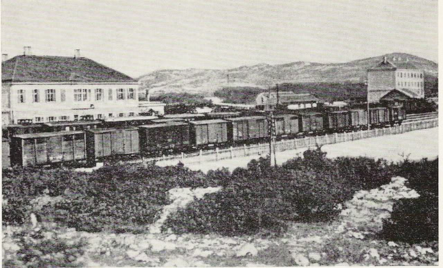 Original passenger building on left.