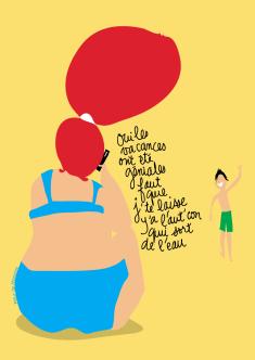 affiche les vacances dessin humour vacances plage couple