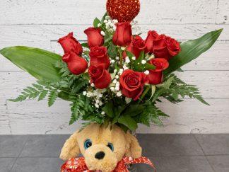 Roses, plush and heart # 3 - Fleuriste Coin Vert | Montréal