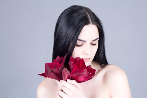 femme avec un amaryllis par fleuristes et fleurs