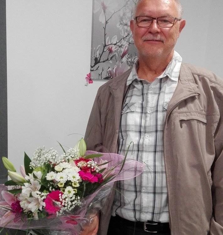 """Jacques DRAPICH, gagnant du tirage Youpi Fleurs, du 28/09/2016, bouquet réalisé par Betty, fleuriste pour """"Le Trèfle à Quatre Fleurs"""""""