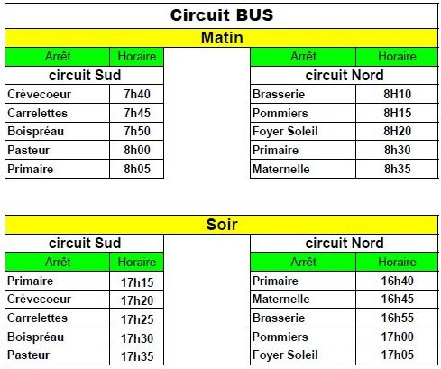 Horaires transport scolaire