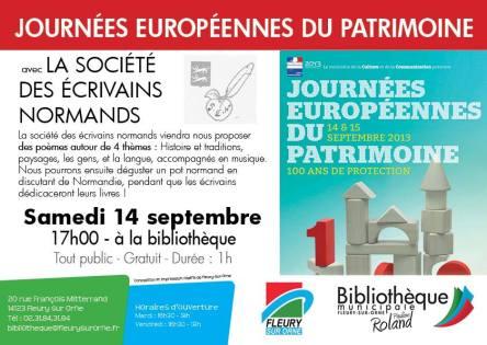 Des poèmes autour de 4 thèmes à la bibliothèque pour les journées européennes du patrimoine
