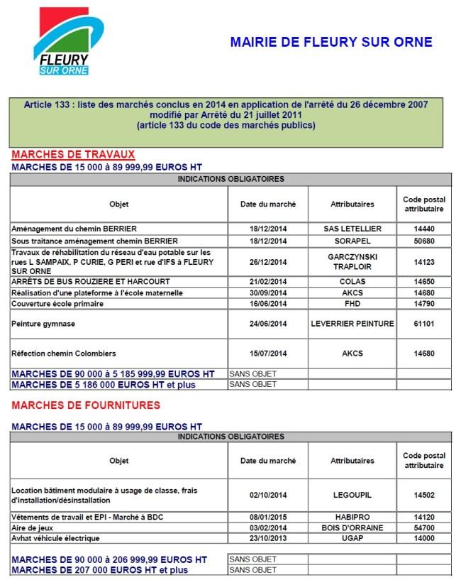 Tableau récapitulatif des marchés 2014 à partir de 15 000 euros (1)