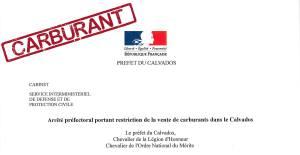 Arrêté préfectoral portant restriction de la vente de carburants dans le Calvados