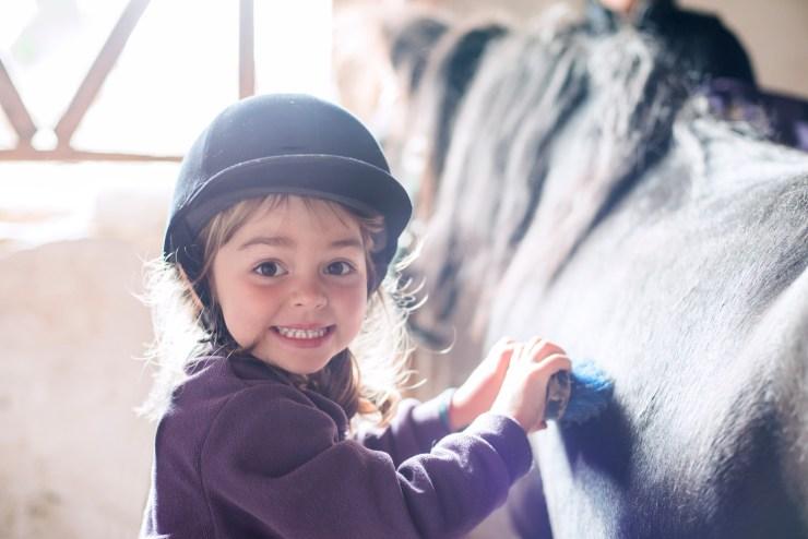 Little girl brushing her pony