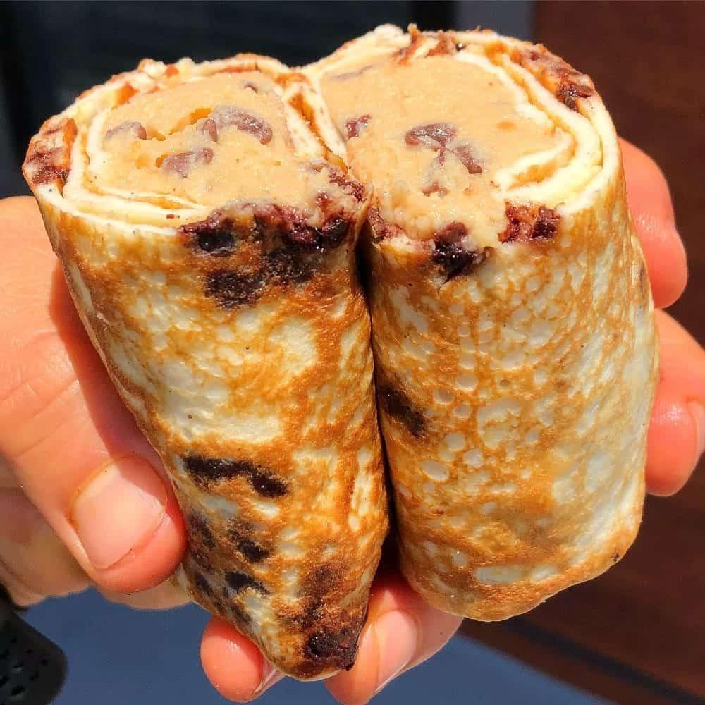Protein Crepe Chocolate Chip Cookie Dough Burrito