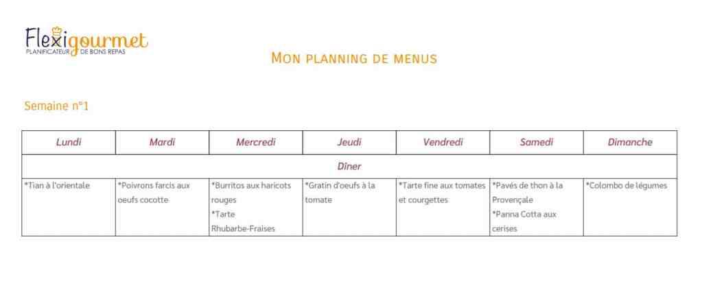 Planning de menus flexitariens pour la semaine du 22 juin