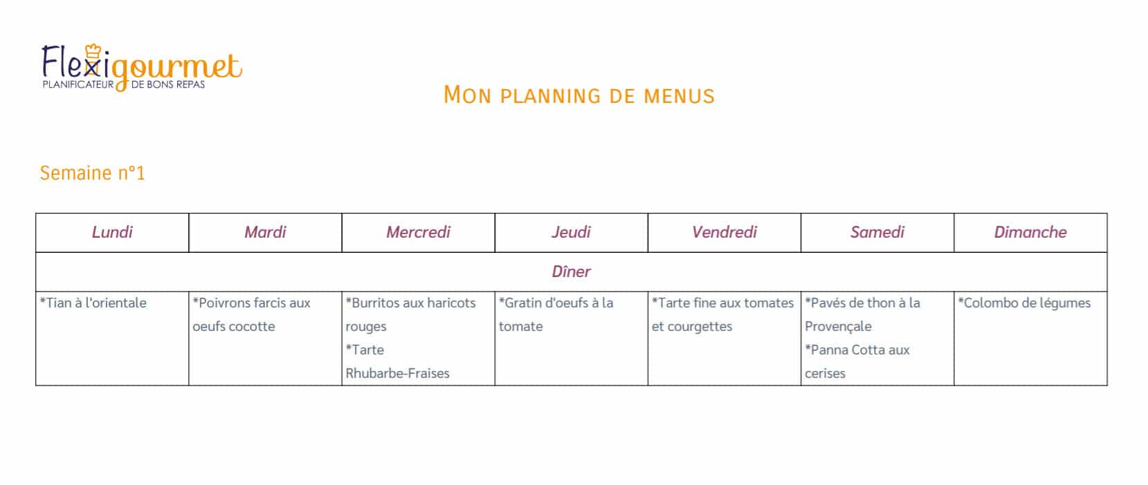 Flexigourmet : Planning de menus du 22 juin