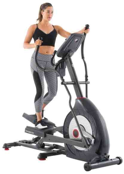model rides the schwinn 430 elliptical machine