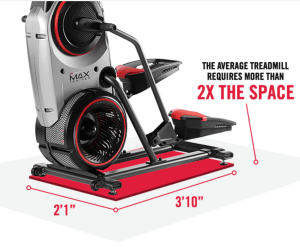 a diagram showing the amount of space a bowflex max trainer takes up when compared to a treadmill