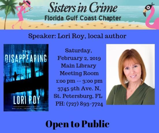 Come meet Lori Roy and the Gulf Coast Sisters in Crime on February 2nd!