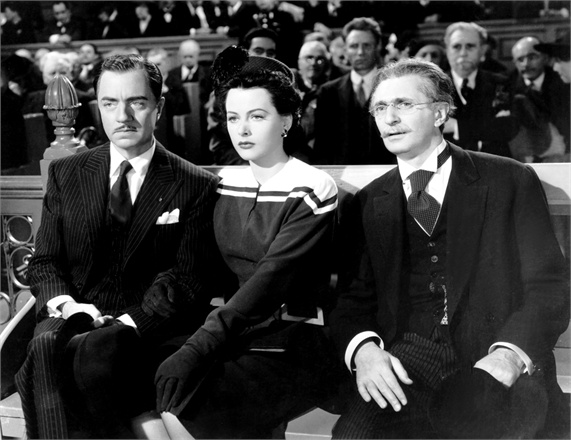 CROSSROADS, from left, William Powell, Hedy Lamarr, Felix Bressart, 1942