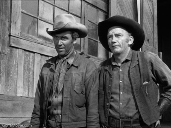 James Stewart (Lin McAdam) rides into Dodge City with his friend Millard Mitchell (High Spade Frankie Wilson)