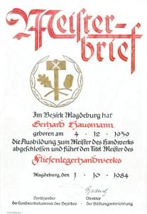 Meisterbrief Gerhard Hausmann