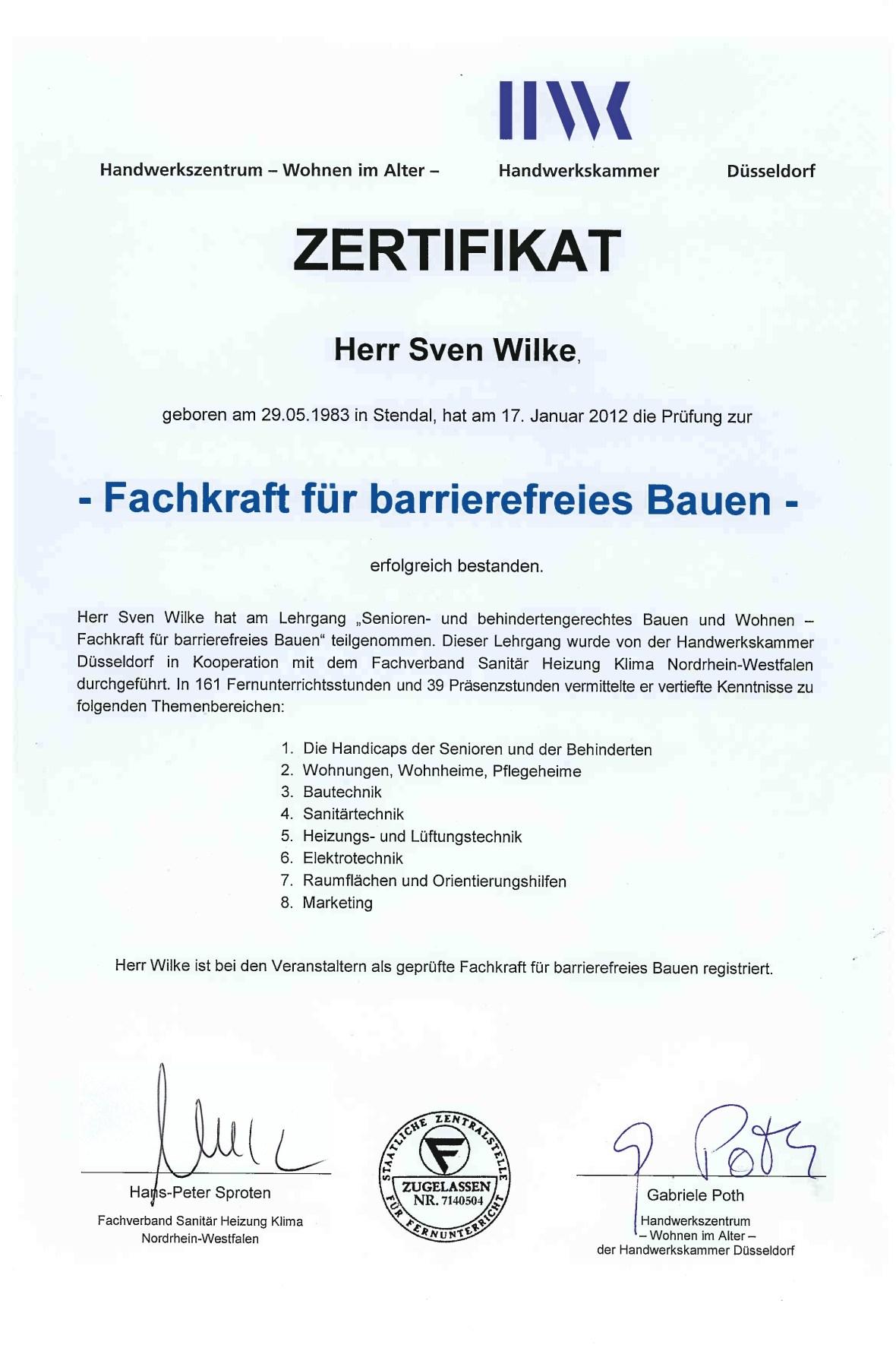Urkunde Sven Wilke; Zertifikat Sven Wilke; Diplom Sven Wilke; Fliesenfachbetrieb Wilke; Fliesenfachbetrieb Sven Wilke; Fliesenfachbetrieb Sven Wilke Solingen;