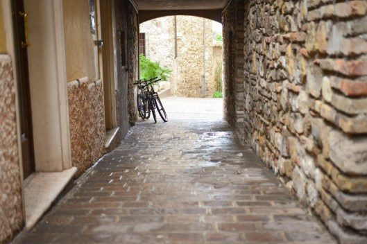 Quiet street in Sirmione bicycles