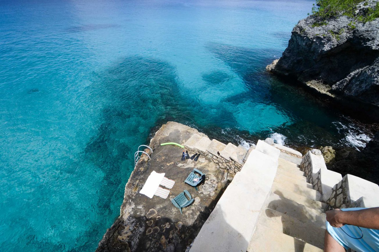 Cliff Side Negril Jamaica stairs to the sea