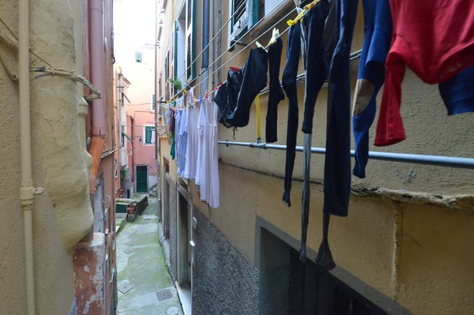 Cinque Terre, Riomaggiore Clothes hanging to dry small alley