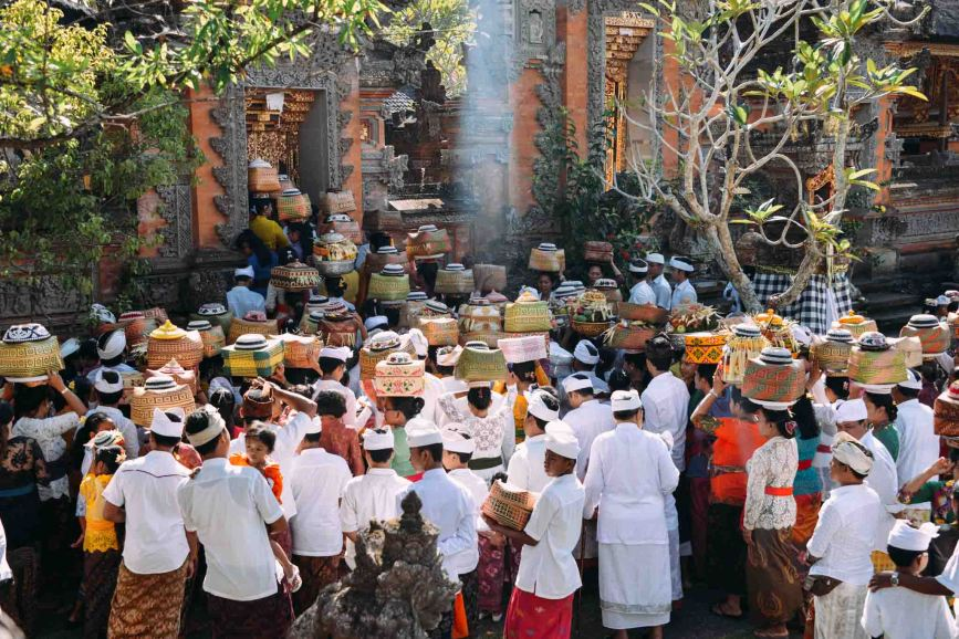 Balinese devotees at the temple celebrating Galungan 2014 in Ubud, Bali