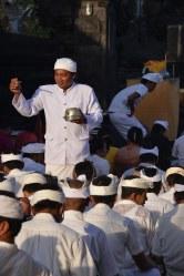 Priests blessing balinese Kuningan Day, May 31, 2014 Nusa Lembongan
