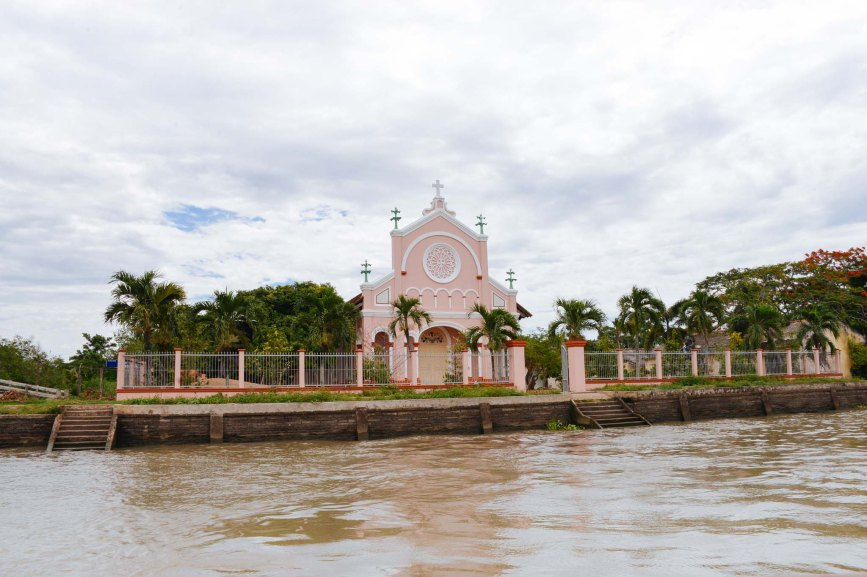 A catholic church along the Mekong