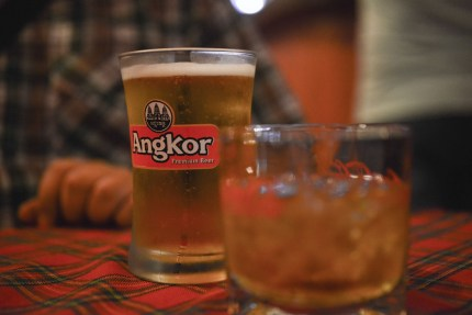 Angkor Beer with our Happy Pizza