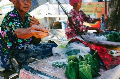 Street food vendors with sweet snacks, bali
