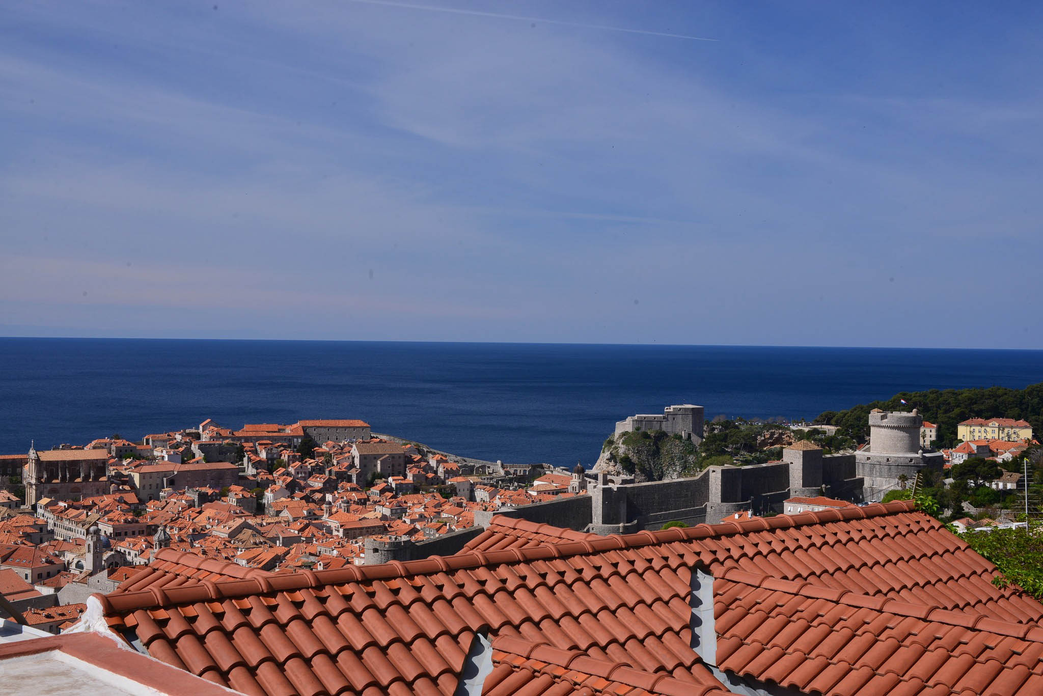 From our kitchen, you can see the old town & the Adriatic Sea