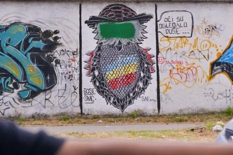 Leaving Mostar, street art