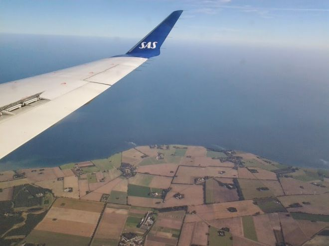 Coming Home: A Nice View of Denmark from the Window of My SAS Flight to Billund