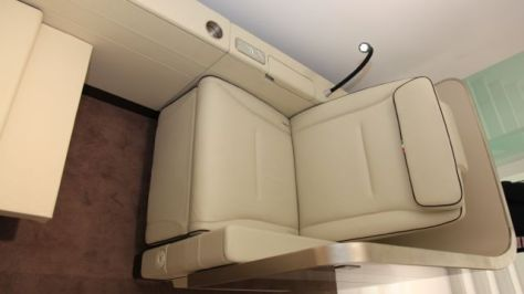 IACOBUCCI's New Business Class Suite with Electrically Elevated Privacy Screen, Aerial View, Image ©Flight Chic