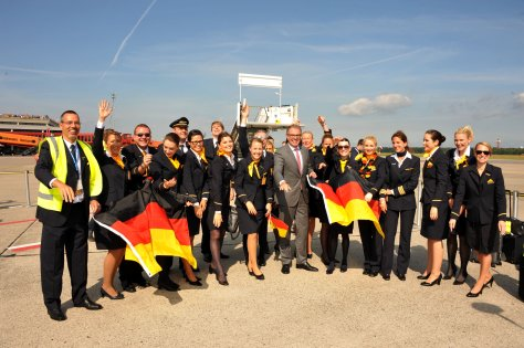 The Lufthansa Fanhansa  Crew Celebrating in Brazil prior to departure/Lufthansa