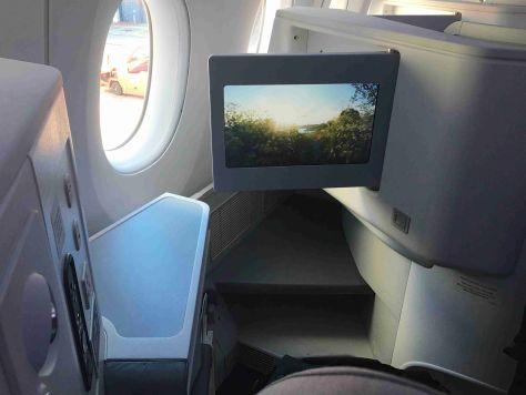 Finnair A350 Business class seat footwell and IFE/FCMedia