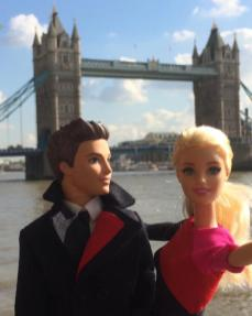 Barbie and Ken at London Bridge, Wearing Qantas New Uniforms/Qantas