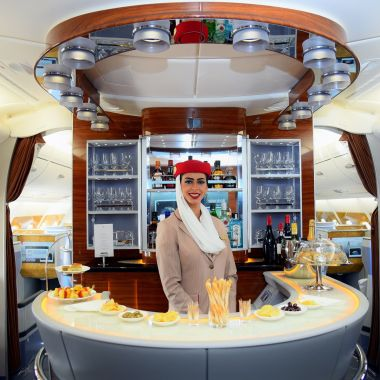 Emirates Business class Lounge on Emirates 2-Class A380, Source: Emirates