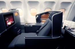 SAS Business class seat, reclined. Source: SAS
