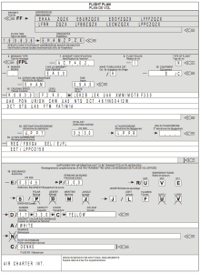 Example of a completed flight plan form