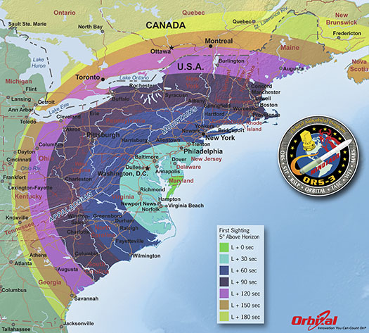 ORS-3 Launch Viewing Map - First Sighting-525