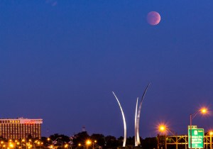 The lunar eclipse over the Air Force Memorial, Oct. 8, 2014. (Joseph Gruber/used with permission)
