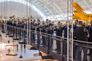 The Air Force Band performs at its Holiday Flash Mob at the Smithsonian Air and Space Museum's Udvar-Hazy Center on Dec. 2. (Courtesy of Air Force/Senior Master Sgt. Kevin Burns)