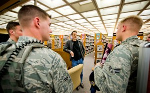 """USO tour veteran Vince Vaughn visits troops at Edwards Air Force Base, California, on Saturday, where he screened his upcoming film """"Unfinished Business,"""" which opens nationwide March 6."""