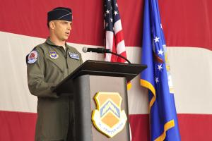 Lt. Col. Gregory Frana assumes command of the 62nd Fighter Squadron June 5, 2015 at Luke Air Force Base, Arizona. The 62nd FS is scheduled to begin accepting F-35 Lightning II jets in July and will be joined by partner nations Norway and Italy. (Air Force photo)