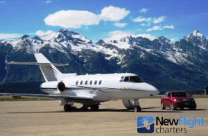 Hawker 800XP jet charter with New Flight Charters at Jackson Hole, WY airport.