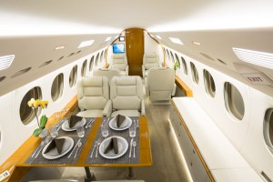 Cabin interior of the Falcon 7X newly available for charter from Southern California.