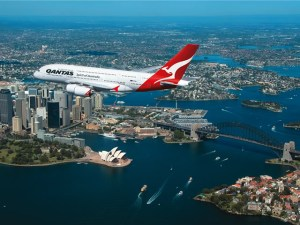 Qantas A380 flight over Sydney
